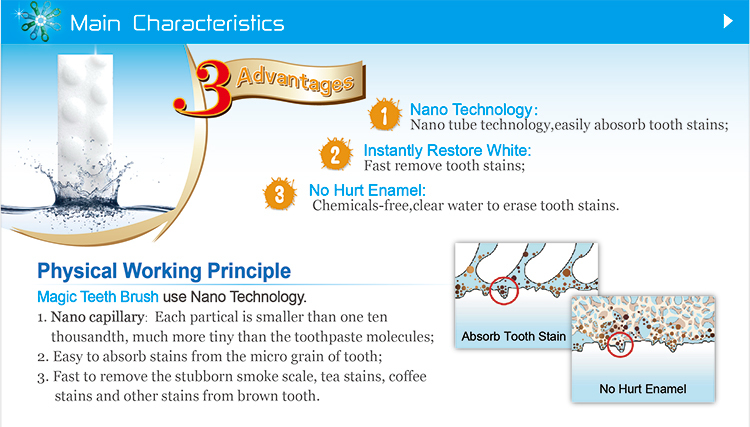 Maigc teeth brush use nano technology and have 3 advantage, fast to remove smoke sacle and tea stains